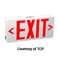 TCP RED LED EXIT SIGN UNIVERSAL AC ONLY WHITE HOUSING