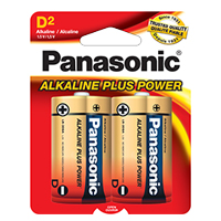 "PANASONIC ALKALINE PLUS POWER ""D"" SIZE 2-PACK"