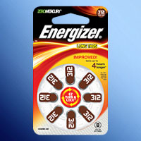 ENERGIZER 312 MERCURY FREE ZINC AIR COIN CELL