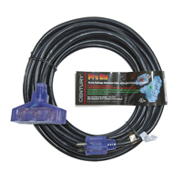 MILSPEC PRO GLO® 12/3 SJTW LIGHTED TRIPLE TAP EXTENSION CORD WITH CGM 50'